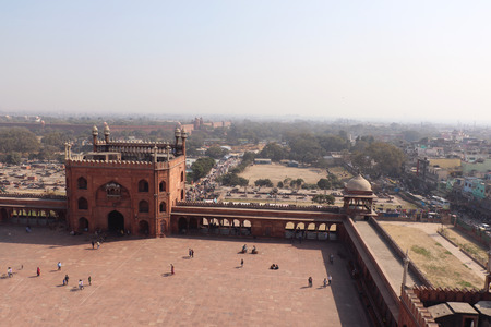 jama masjid: Aerial view of the Jama Masjid mosque overlooking Old Delhi, India. Stock Photo