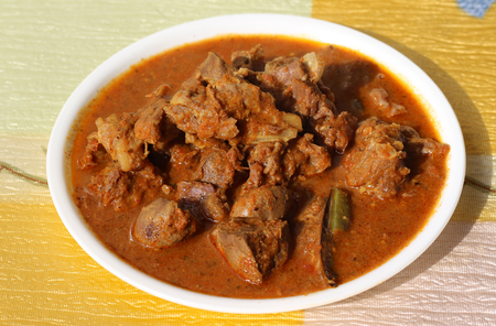 Indian style mutton curry with thick spicy gravy/Indian style meat dish Reklamní fotografie