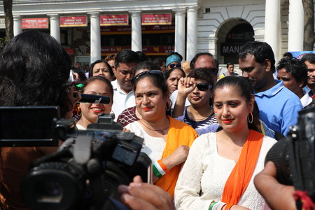 ch: New Delhi, India - March 13, 2016: On Sunday, March 13th i.e. 5 days after the International Women�s Day, Navbharat Times (NBT) organized Delhi�s forth open �All Women Bike Rally�, flagged off by Delhis Chief Minister Arvind Kejariwal in Rajiv Ch