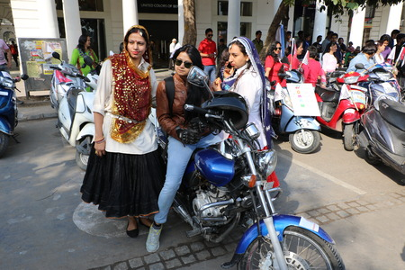 powerfull: New Delhi, India - March 13, 2016: On Sunday, March 13th i.e. 5 days after the International Women�s Day, Navbharat Times (NBT) organized Delhi�s forth open �All Women Bike Rally�, flagged off by Delhis Chief Minister Arvind Kejariwal
