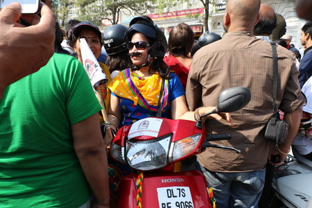 ie: New Delhi, India - March 13, 2016: On Sunday, March 13th i.e. 5 days after the International Womens Day, Navbharat Times (NBT) organized Delhis forth open All Women Bike Rally, flagged off by Delhis Chief Minister Arvind Kejariwal in Rajiv Chowk.