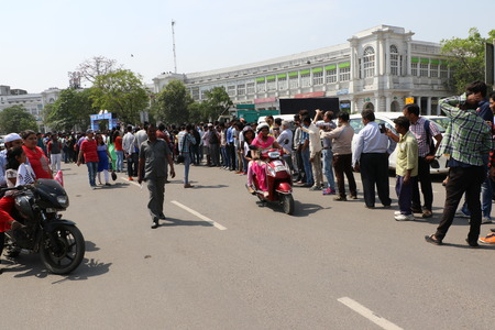 days off: New Delhi, India - March 13, 2016: On Sunday, March 13th i.e. 5 days after the International Womens Day, Navbharat Times (NBT) organized Delhis forth open All Women Bike Rally, flagged off by Delhis Chief Minister Arvind Kejariwal in Rajiv Chowk.