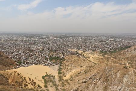 habitation: Aerial view of Jaipur habitation from the Nahargarh Fort.