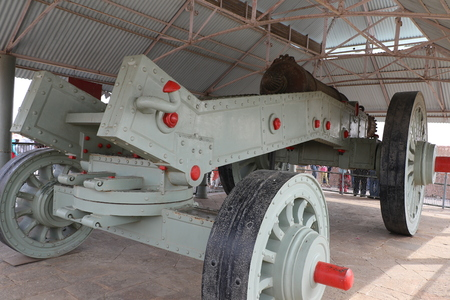 gunnery: Antique artillery cannon kept for public exhibition in city palace, Jaipur, Rajasthan.