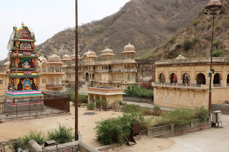 coveted: The Galtaji Temple known as Monkey temple is among the coveted tourist attractions of Jaipur. Stock Photo