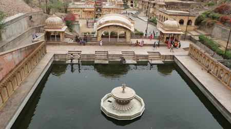 The Galtaji Temple known as Monkey temple is among the coveted tourist attractions of Jaipur. Stock Photo