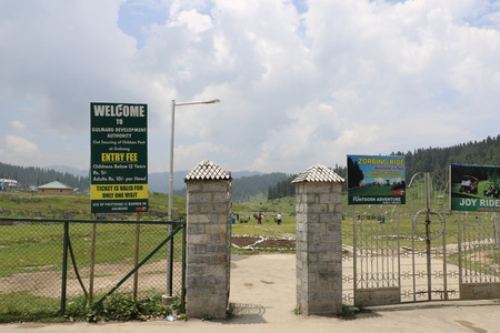 kashmir: Beautiful view of Gulmarg valley, Jammu & Kashmir and vehicle parking