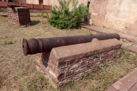 pradesh: Antique artillery cannon kept for public exhibition in thousand years old Narwar Fort, Shivpuri, Madhya Pradesh.