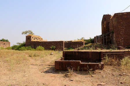 dilapidated wall: Ruins of thousand years old Narwar Fort, Shivpuri, India lies at a height of 500 feet above sea level, now in a dilapidated condition but the remains indicates its flourishing days.