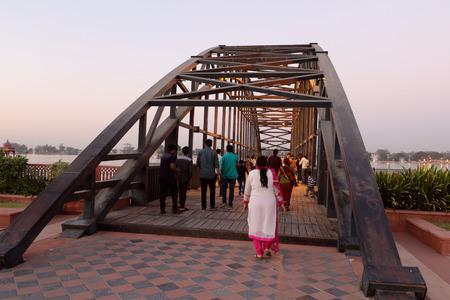 sagar: Tourists are enjoying on the bridge built on Kishore Sagar Dam in Seven Wonders park, Kota, Rajasthan.
