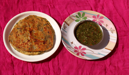 Methi Paratha with Indian homemade traditional green chilli sauce