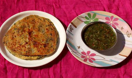 green chilli: Methi Paratha with Indian homemade traditional green chilli sauce