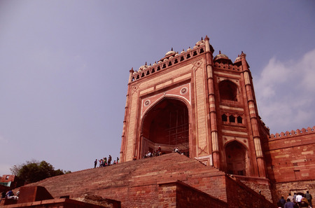 Buland Darwaza, Fatehpur Sikri was built in 1576 A.D. by Akbar to commemorate his victory over Gujarat. Buland Darwaza, meaning high or great gate in Urdu. Stock Photo