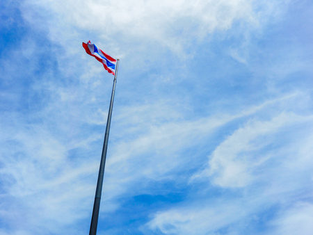 thai flag on the beautiful blue sky Stock Photo