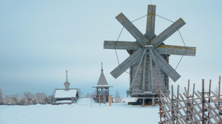karelia: Wooden windmill in the village in the North of Karelia
