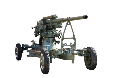 Gun. Anti-aircraft gun on wheels isolated on white background