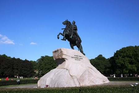 The Copper Horseman. A monument to Tsar Peter I. St. Petersburg, Neva