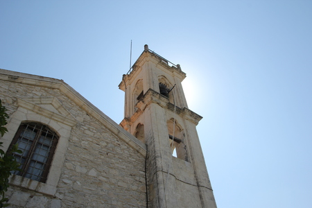 High stone bell tower of the historic Christian Church