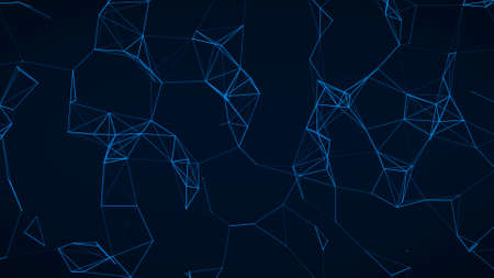 Abstract Plexus Geometrical Shapes. Connection And Web Concept. Digital, Communication And Technology Network Background With Moving Lines And Dots.