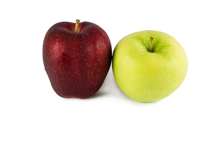 Red and green apples isolated on white Imagens