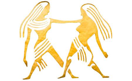Gemini sign of horoscope isolated on white