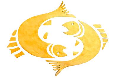 Pisces sign of horoscope isolated on white Imagens