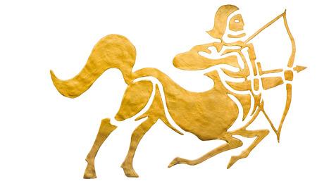 Sagittarius sign of horoscope isolated on white