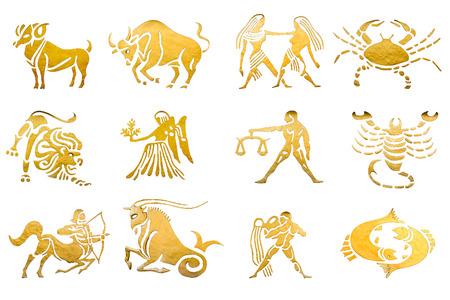 virgo: Los signos del zodíaco y los horóscopos estrellas aislados en blanco