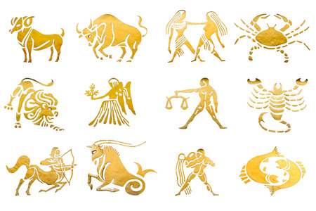 taurus sign: Zodiac and star signs horoscopes isolated on white
