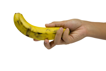 Banana on hand isolated on the white and background