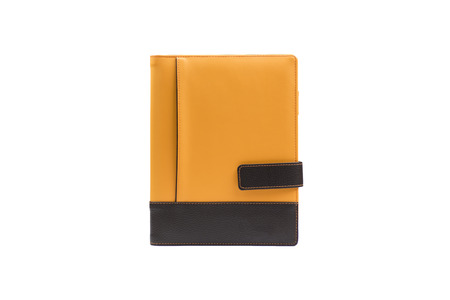 Orange book diary isolated on white