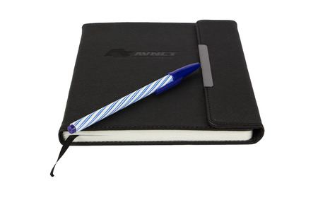 Agenda appointment book and pen isolated on white