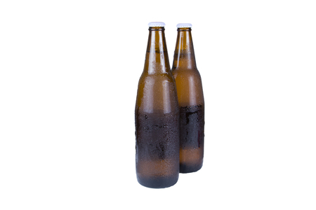 Two beer bottles isolated on white Imagens