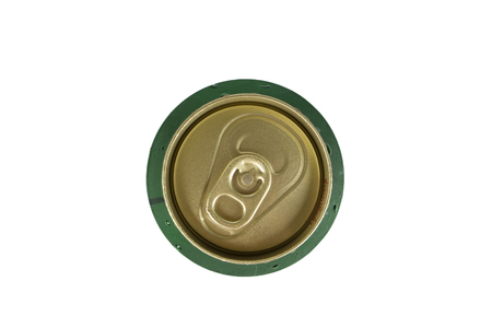 large group of objects: View from the top can of beer isolated on white. Stock Photo
