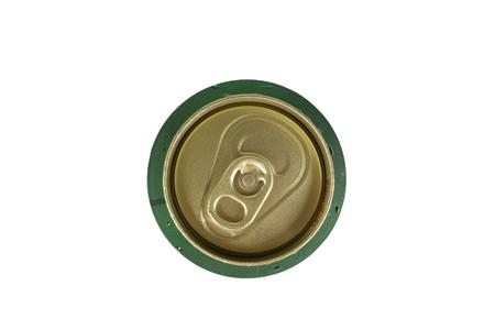 tarro cerveza: Vista desde la parte superior de la cerveza puede aislado en blanco.