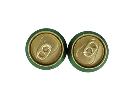 View from the top two can of beer isolated on white.