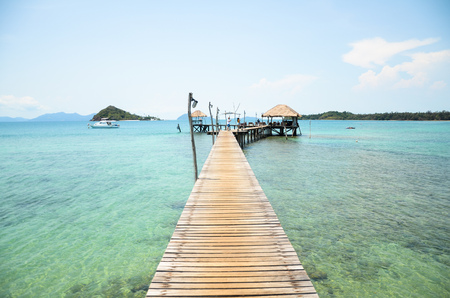 A wooden bridge on the beautiful sea in trat of Thailand