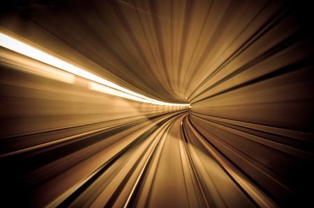 night vision: dark metro tunnel - motion blur photo Stock Photo