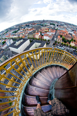 round tower stairs make one feel sick when looking down Stock Photo