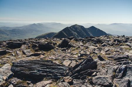 gully: at the top of Carrauntoohil, Ireland Stock Photo