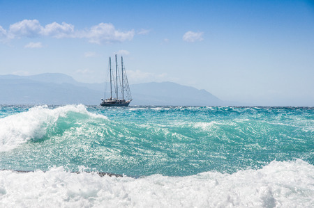 sailship in the storm on the sea Stock Photo