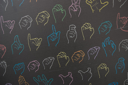 sign language: dynamic symbols of sign language Stock Photo