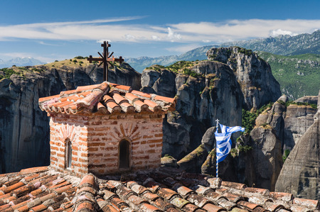 rooftiles: inside one of the famous Meteora monasteries Stock Photo