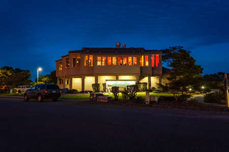 March 13, 2019: Lord Bennett's Restaurant in Bandon, Oregon, a fine dining establishment. Building is illuminated from the insight and outside.
