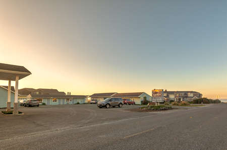 Table Rock Motel in Bandon Oregon during sunset.
