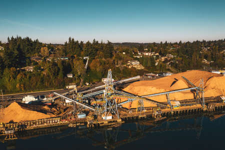 Aerial photo of a large saw mill in Coos Bay, Oregon.