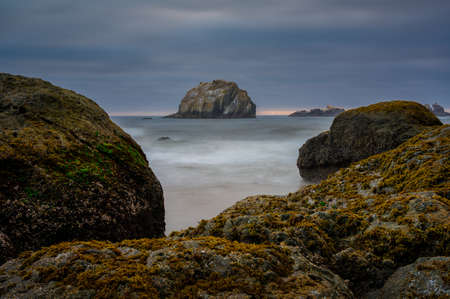 Dramatic coastal image of Face Rock in Bandon Oregon Stock fotó