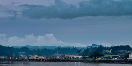 Old Town and harbor docks in Bandon Oregon, a small town at the Oregon Coast. Stock fotó