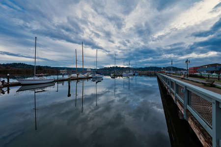 Fishing boats docked in Coos Bay harbor, Oregon, USA