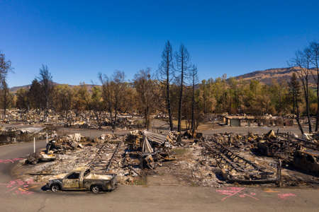 Burned homes and cars caused by Southern Oregon Almeda Fire